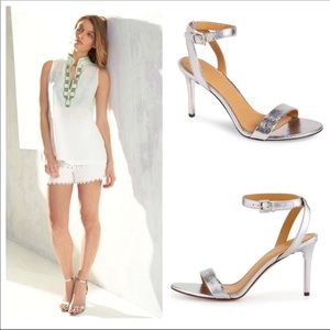 🆕 Authentic TORY BURCH silver strappy heels- 10.5